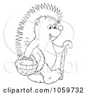 Royalty Free Clip Art Illustration Of A Coloring Page Outline Of A Hedgehog With A Cane And Basket