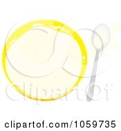 Royalty Free Vector Clip Art Illustration Of A Bowl And Spoon With Splashed Milk by Alex Bannykh