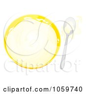 Royalty Free Clip Art Illustration Of An Airbrushed Bowl And Spoon With Splashed Milk by Alex Bannykh