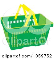 Royalty Free Vector Clip Art Illustration Of A Green Shopping Basket With Yellow Handles
