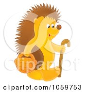 Royalty Free Clip Art Illustration Of A Hedgehog With A Cane And Basket