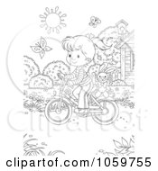 Royalty Free Clip Art Illustration Of A Coloring Page Outline Of A Girl Riding A Bicycle