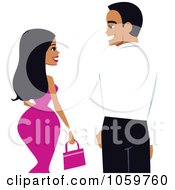 Voluptuous Woman And Handsome Young Man From Behind Looking At Each Other