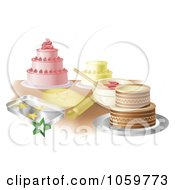 Royalty Free Vector Clip Art Illustration Of A Counter Top With Cakes And Cookies