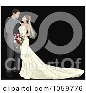 Royalty Free Vector Clip Art Illustration Of A Bride And Groom Gazing At Each Other Over Black