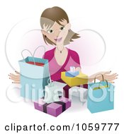 Royalty Free Vector Clip Art Illustration Of A Happy Female Shopper With Bags And Boxes by AtStockIllustration