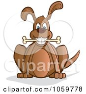 Royalty Free Vector Clip Art Illustration Of A Happy Brown Dog Sitting With A Bone