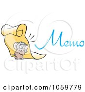 Royalty Free Vector Clip Art Illustration Of A Micah Mouse Holding Up A Memo by Johnny Sajem
