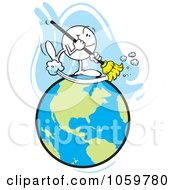 Royalty Free Vector Clip Art Illustration Of A Happy Moodie Character Sweeping The Earth by Johnny Sajem