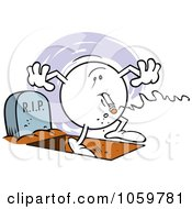 Royalty Free Vector Clip Art Illustration Of A Smoking Moodie Character With One Foot In The Grave