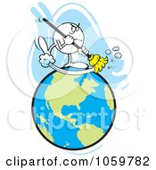 Royalty Free Vector Clip Art Illustration Of A Mad Moodie Character Sweeping The Earth
