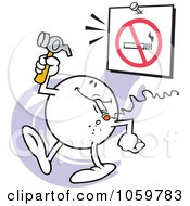 Royalty Free Vector Clip Art Illustration Of A Moodie Character Hanging A No Smoking Sign by Johnny Sajem
