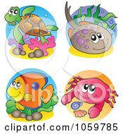 Royalty Free Vector Clip Art Illustration Of A Digital Collage Of Sea Life Logos by visekart