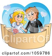 Royalty Free Vector Clip Art Illustration Of A Wedding Couple Holding Hands Over A Banner