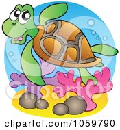 Royalty Free Vector Clip Art Illustration Of A Swimming Sea Turtle Logo by visekart