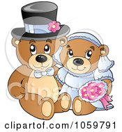 Royalty Free Vector Clip Art Illustration Of A Teddy Bear Wedding Couple by visekart