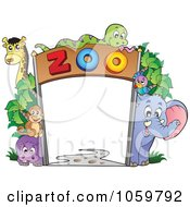 Royalty Free Vector Clip Art Illustration Of A Frame Of Zoo Animals by visekart #COLLC1059792-0161