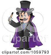 Royalty Free Vector Clip Art Illustration Of A Magician In A Purple Cape