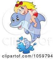 Royalty Free Vector Clip Art Illustration Of A Girl On A Leaping Dolphin