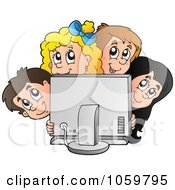 Royalty Free Vector Clip Art Illustration Of A Group Of Kids Looking Around A Computer Screen