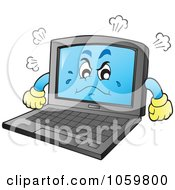 Royalty Free Vector Clip Art Illustration Of A Mad Laptop Character