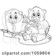 Royalty Free Vector Clip Art Illustration Of A Coloring Page Outline Of Two Panda Bears With Bamboo by visekart