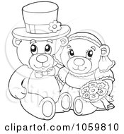 Royalty Free Vector Clip Art Illustration Of A Coloring Page Outline Of A Teddy Bear Wedding Couple