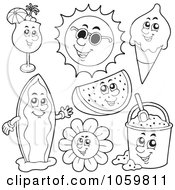 Royalty Free Vector Clip Art Illustration Of A Digital Collage Of Coloring Page Outlines Of Summer Characters