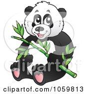 Royalty Free Vector Clip Art Illustration Of A Panda Bear Holding Bamboo by visekart