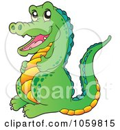Royalty Free Vector Clip Art Illustration Of A Happy Crocodile by visekart