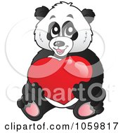 Royalty Free Vector Clip Art Illustration Of A Panda Bear Holding A Heart by visekart