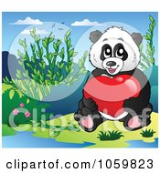 Royalty Free Vector Clip Art Illustration Of A Valentine Panda Bear Holding A Heart by visekart