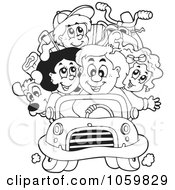 Coloring Page Outline Of A Family On A Road Trip