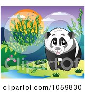Royalty Free Vector Clip Art Illustration Of A Happy Panda Bear In The Wild by visekart