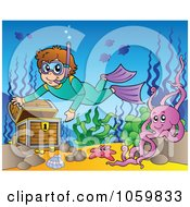 Royalty Free Vector Clip Art Illustration Of A Snorkeler Discovering Sunken Treasure