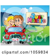 Royalty Free Vector Clip Art Illustration Of A Wedding Couple Driving In A Car