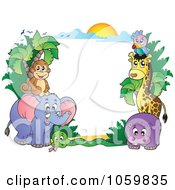 Royalty Free Vector Clip Art Illustration Of A Frame Of Animals Under A Sunset 1