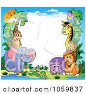 Royalty Free Vector Clip Art Illustration Of A Frame Of Animals Under A Sunset 3