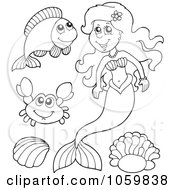 Royalty Free Vector Clip Art Illustration Of A Digital Collage Of Coloring Page Outlines Of A Mermaid And Sea Creatures