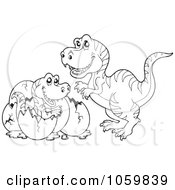 Royalty Free Vector Clip Art Illustration Of A Coloring Page Outline Of A Tyrannosaurus Hatching