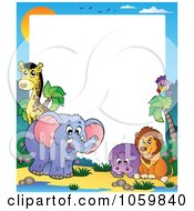 Royalty Free Vector Clip Art Illustration Of A Frame Of Animals Under A Sunset 2