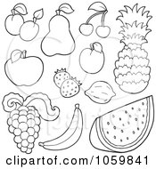Royalty Free Vector Clip Art Illustration Of A Digital Collage Of Outlined Fruit by visekart
