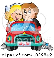 Royalty Free Vector Clip Art Illustration Of A Wedding Couple Driving Away In A Car by visekart