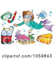 Royalty Free Vector Clip Art Illustration Of A Digital Collage Of Snorkel And Scuba Items by visekart