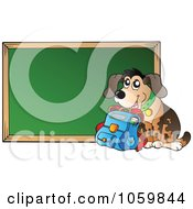 Royalty Free Vector Clip Art Illustration Of A Dog With A Book Bag By A Chalkboard