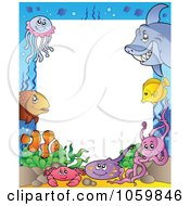 Royalty Free Vector Clip Art Illustration Of A Sea Life Frame Around White Space by visekart