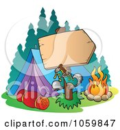 Royalty Free Vector Clip Art Illustration Of A Blank Sign At A Camp Site