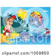 Royalty Free Vector Clip Art Illustration Of A Girl And Boy With Dolphins