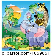 Royalty Free Vector Clip Art Illustration Of African Animals By A Water Hole 2 by visekart
