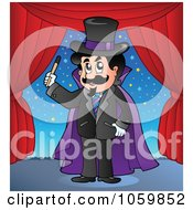 Royalty Free Vector Clip Art Illustration Of A Magician On Stage